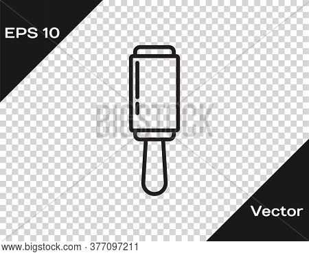 Black Line Adhesive Roller For Cleaning Clothes Icon Isolated On Transparent Background. Getting Rid