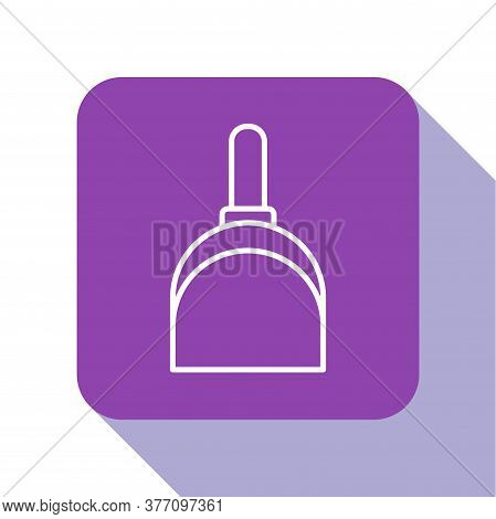 White Line Dustpan Icon Isolated On White Background. Cleaning Scoop Services. Purple Square Button.