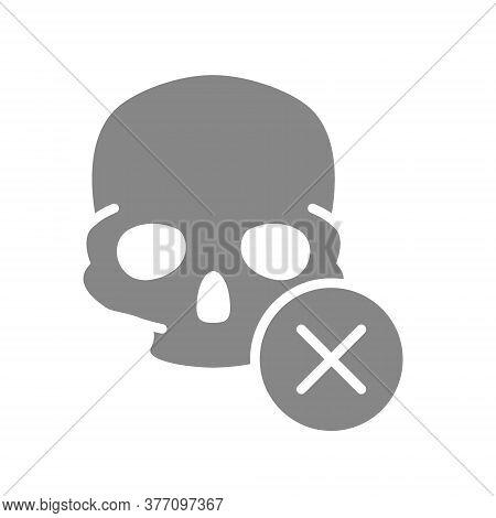 Skull With Cross Checkmark Grey Icon. Bone Structure Of The Head, Cranium Symbol