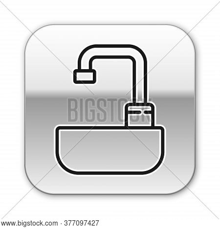 Black Line Washbasin With Water Tap Icon Isolated On White Background. Silver Square Button. Vector