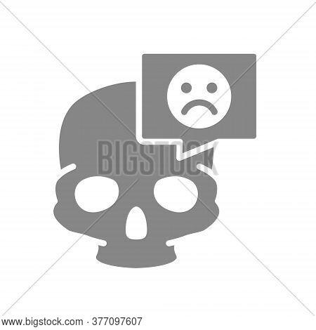 Skull With Sad Face In Speech Bubble Grey Icon. Bone Structure Of The Head, Cranium Symbol