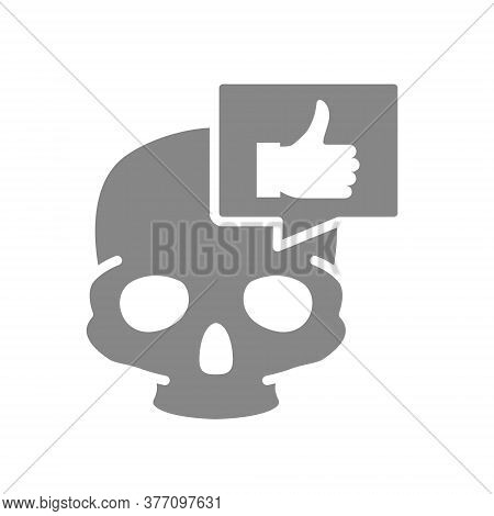 Skull With Thumb Up In Speech Bubble Grey Icon. Bone Structure Of The Head, Cranium Symbol