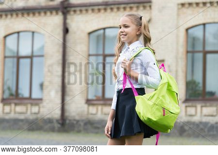 Excellence In Education. Teen Girl With Backpack. Pretty Child Little Girl Carry School Bag. Study A