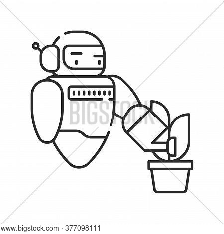 Futuristic Robot Automation To Increase Efficiency Black Line Icon. Checking Plants. Agricultural Io