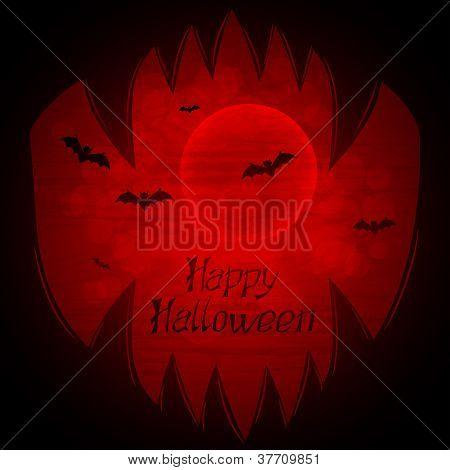 Halloween vector horor background with sharp teeth.