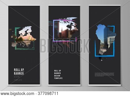 Vector Layout Of Roll Up Mockup Template For Vertical Flyers, Flags Design Templates, Banner Stands,
