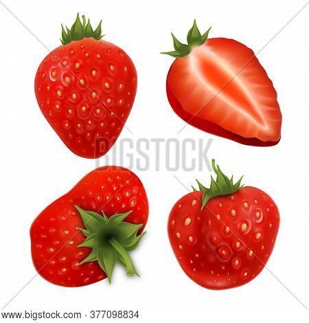 Strawberry Agricultural Tasty Berries Set Vector. Collection In Different Size, Whole And Cut Vitami