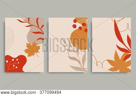 Colorful Autumn Backgrounds In Vintage Style. Autumn Banner Collection. Minimal Composition With Pla