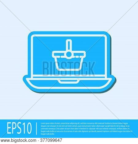 Blue Line Shopping Basket On Screen Laptop Icon Isolated On Grey Background. Concept E-commerce, E-b