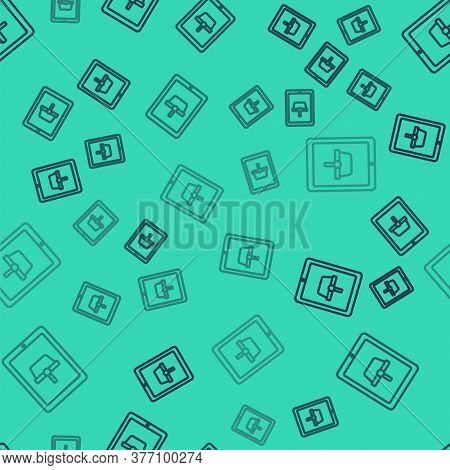 Black Line Shopping Basket On Screen Tablet Icon Isolated Seamless Pattern On Green Background. Conc
