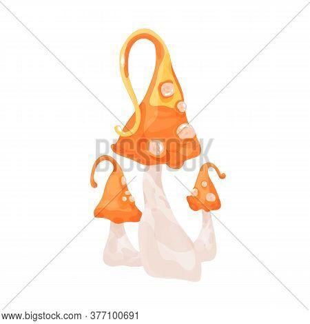 Toxic Mushrooms With Orange Cone Cap And Spores Vector Illustration. Fantasy Mythical Fungus Decorat