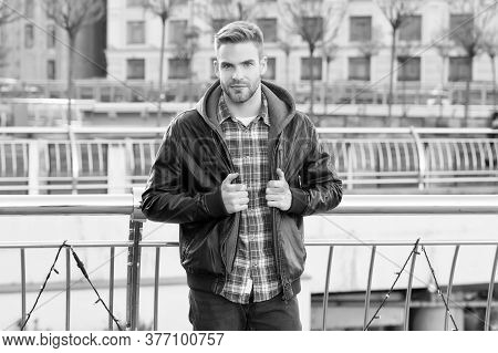 Male Fashion. Waiting For You. Just Relaxing Here. Man Wearing Leather Jacket. Street Style. Portrai