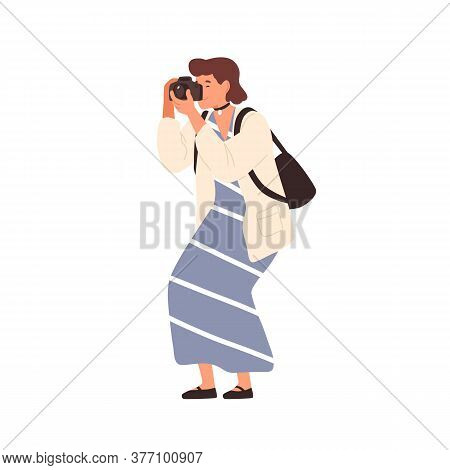 Smiling Woman In Trendy Dress Taking Photo Holding Camera Vector Flat Illustration. Happy Female Pho