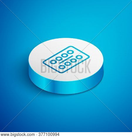Isometric Line Pills In Blister Pack Icon Isolated On Blue Background. Medical Drug Package For Tabl