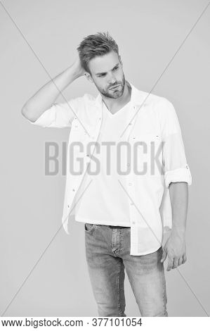 Businessman In Jeans And Shirt. Portrait Of Millennial Man In Casual Clothes. Handsome Man Wear Whit