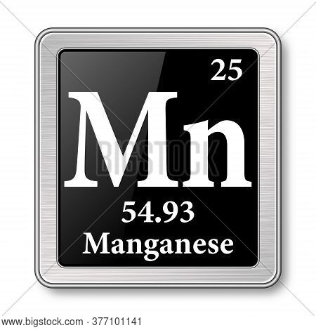 Manganese Symbol.chemical Element Of The Periodic Table On A Glossy Black Background In A Silver Fra