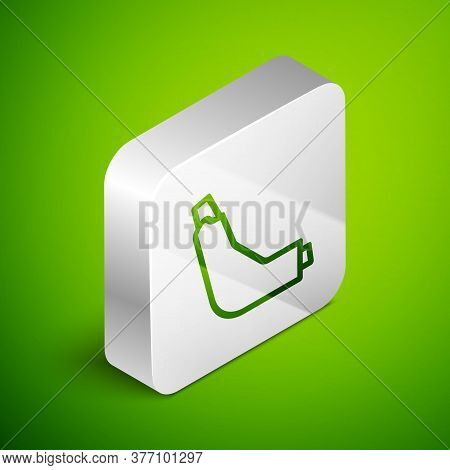 Isometric Line Inhaler Icon Isolated On Green Background. Breather For Cough Relief, Inhalation, All