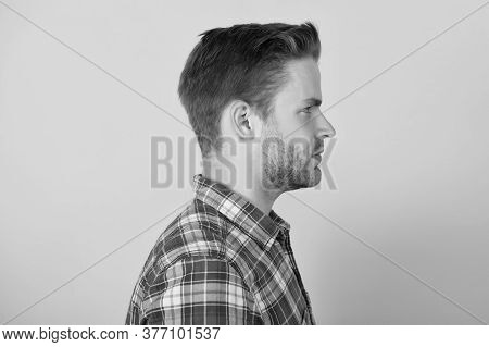 Beauty Services. Unshaven Man. Clothing Fashion Trend. Barbershop Salon. Man In Casual Shirt Side Vi