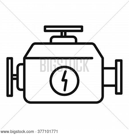 Hybrid Car Engine Icon. Outline Hybrid Car Engine Vector Icon For Web Design Isolated On White Backg
