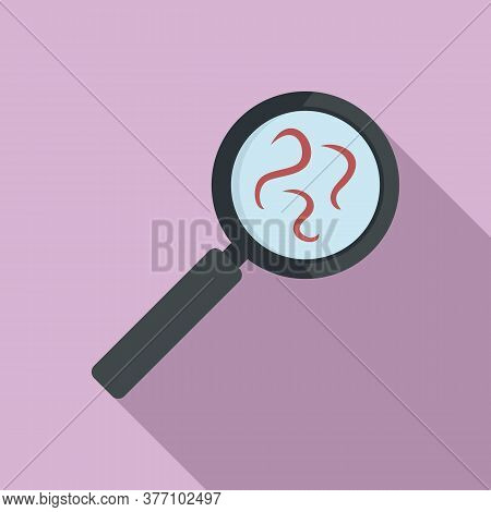 Parasite Worms Under Magnifier Icon. Flat Illustration Of Parasite Worms Under Magnifier Vector Icon