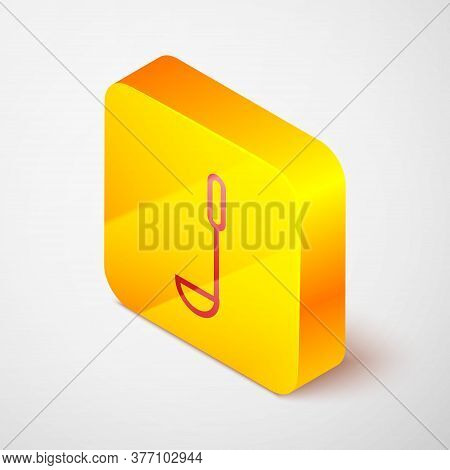 Isometric Line Kitchen Ladle Icon Isolated On Grey Background. Cooking Utensil. Cutlery Spoon Sign.