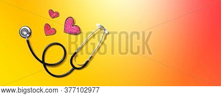 Medical Worker Appreciation Theme With Hearts And Stethoscope