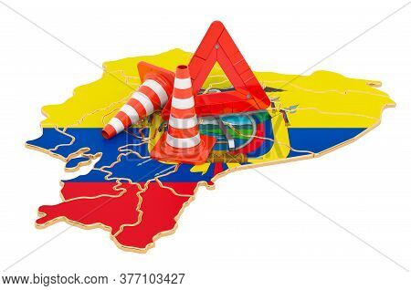 Ecuadorian Map With Traffic Cones And Warning Triangle, 3d Rendering Isolated On White Background