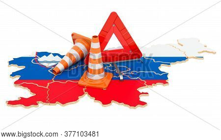 Slovenian Map With Traffic Cones And Warning Triangle, 3d Rendering Isolated On White Background