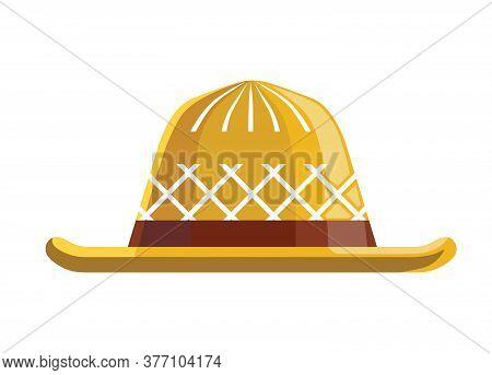 Straw Hat Flat Illustration. A Braided Headdress