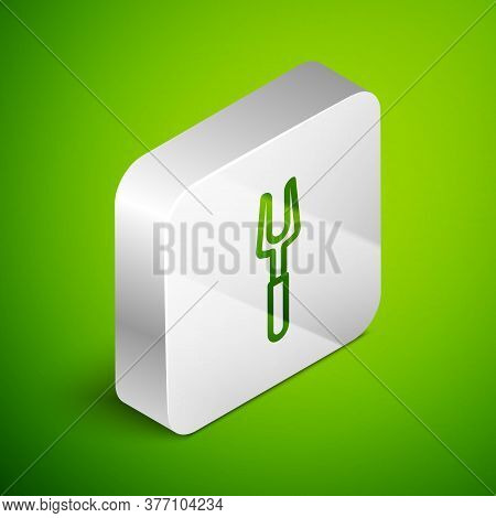Isometric Line Barbecue Fork Icon Isolated On Green Background. Bbq Fork Sign. Barbecue And Grill To