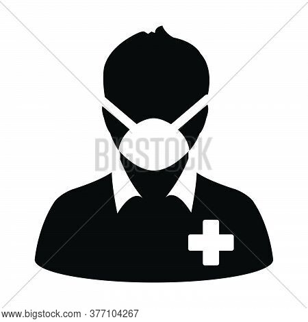 Medical Mask Icon Vector With Patient Person Profile Male User Avatar Symbol For Medical And Health