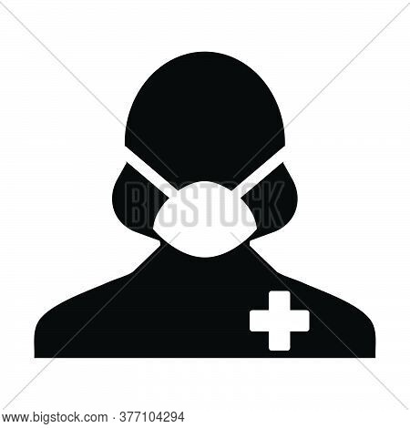 Virus Mask Icon Vector With Patient Person Profile Female User Avatar Symbol For Medical And Health