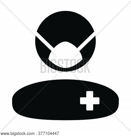 Hospital Icon Vector Patient With Face Mask Person Profile Male User Avatar Symbol For Medical And H