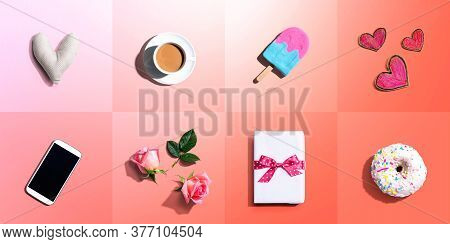 Appreciation Theme With Roses, Smartphone, Coffee, And Gift Box - Flatlay