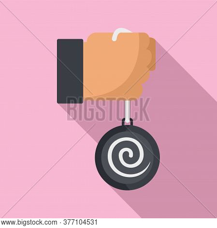 Mental Hypnosis Pendulum Icon. Flat Illustration Of Mental Hypnosis Pendulum Vector Icon For Web Des