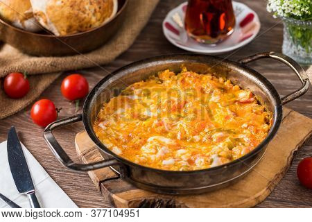 Traditional Turkish Breakfast Food Menemen Made By Eggs And Tomatoes.