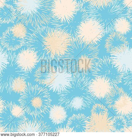 Fluffy Soft Dandelions Seamless Vector Pattern. Decorative Surface Print Design For Fabrics, Station