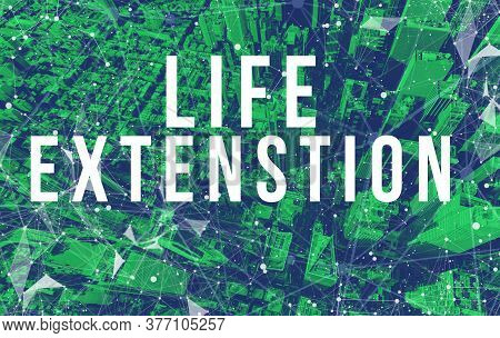Life Extension Theme With Abstract Network Patterns And Manhattan Ny Skyscrapers