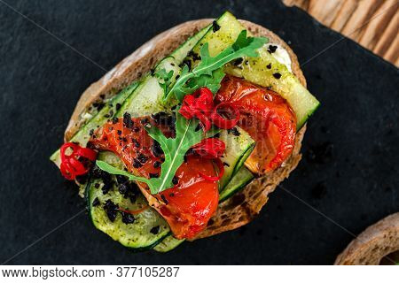 Tasty Bruschetta With Tomato. Easy Cook, Nutritious Snack. Beautifully Decorated Catering Banquet Me