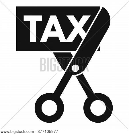 Scissors Cut Tax Icon. Simple Illustration Of Scissors Cut Tax Vector Icon For Web Design Isolated O