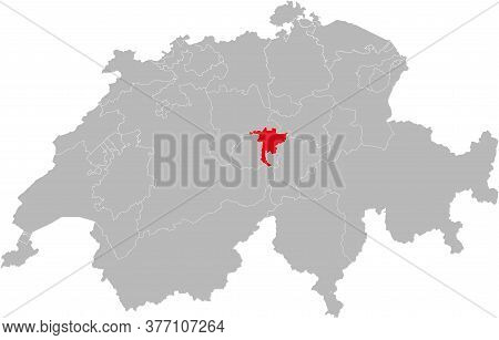 Nidwalden Canton Isolated On Switzerland Map. Gray Background. Backgrounds And Wallpapers.