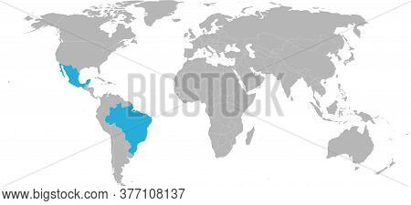 Brazil, Mexico Countries Isolated On World Map. Light Gray Background. Travel And Transport Backgrou