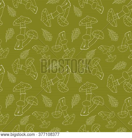 Vector Seamless Pattern With White Silhouette Of Amanitas On A Green Background. Beautiful Design Fo