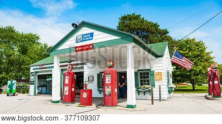 Dwight Usa - August 31 2015;  Texaco Garage Restored With Old Red Sky Chief Fuel Pumps And Route 66