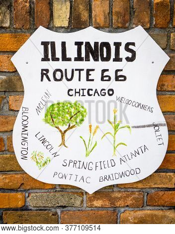 Atlanta Illinois Usa - August 31 2015; Illinois Towns Along On Route 66 Wall Sign In Atlanta, Illino