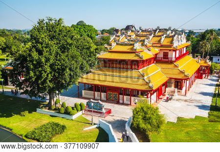 Phra Thinang Wehart Chamrun In Bang Pa-in Royal Palace Or The Summer Palace With Beautiful Garden In