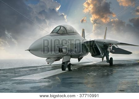 F-14 jet fighter on carrier deck
