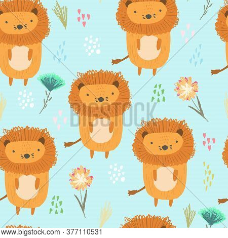 Cute Seamless Pattern With Orange Lions, Colorful Dots And Childish Flowers And Grass On Blue. Funny