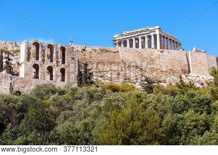 Acropolis Hill And Parthenon Temple In Summer, Athens, Greece. Famous Acropolis Is Top Landmark Of A