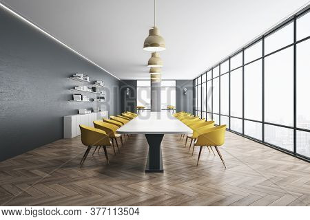 Contemporary Meeting Room Interior With City View, Yellow Chairs And Office Accessories. 3d Renderin